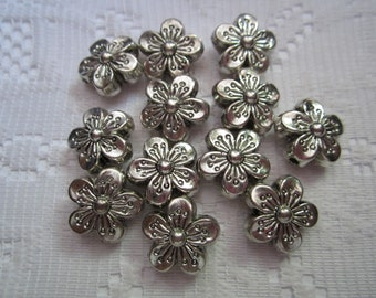 10  Nickel Silver Antiqued Flower Acrylic Beads  16mm