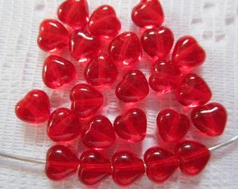 25  Christmas Ruby Red Heart Transparent Czech Glass Beads  6mm
