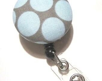 Retractable ID BADGE Reel Holder, Lanyard-Cute Blue Dots on Grey