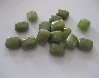 Peridot Beads, Rectangular Shape, Olive-Lime Green, 10mm x 14mm, 14 pieces