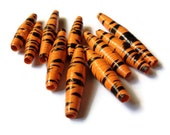 Orange and Black Paper Beads - Halloween, Paper Craft Jewelry, Tiger, Unusual Beads, Choc Orange, Stripe - (T1)