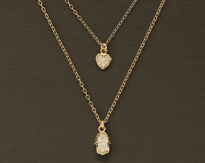 Layered Gold Pave Hamsa and Heart Necklace