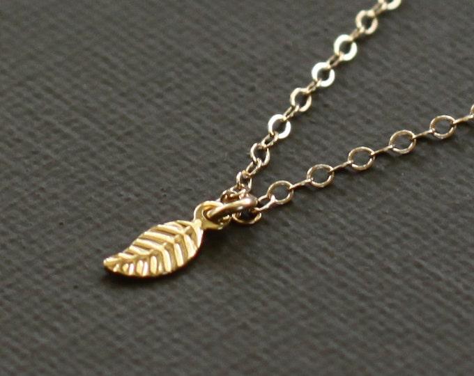 Tiny Gold Leaf Necklace