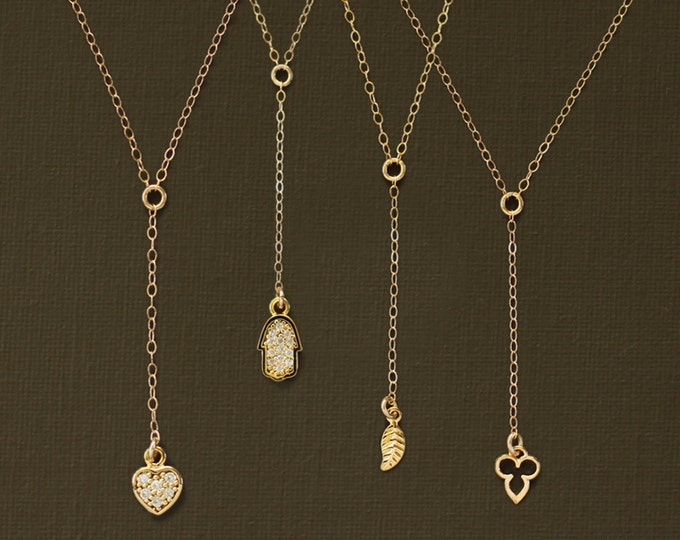 Delicate Rosary Y Necklace with Pave Heart Charm