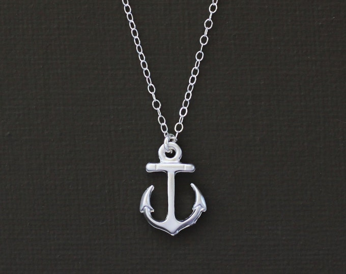 Tiny Silver Anchor Necklace - Sterling Silver Chain