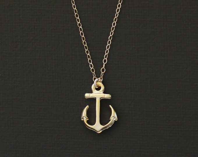 Tiny Gold Anchor Necklace - 14K Gold Filled Chain