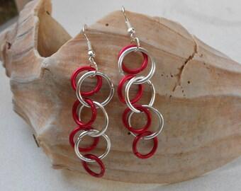 pierced earrings aluminum loops Oxblood red and silver metal dangle earrings