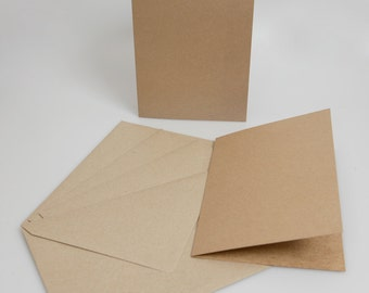 Recycled Brown Kraft Card Blanks with matching envelopes (A6)