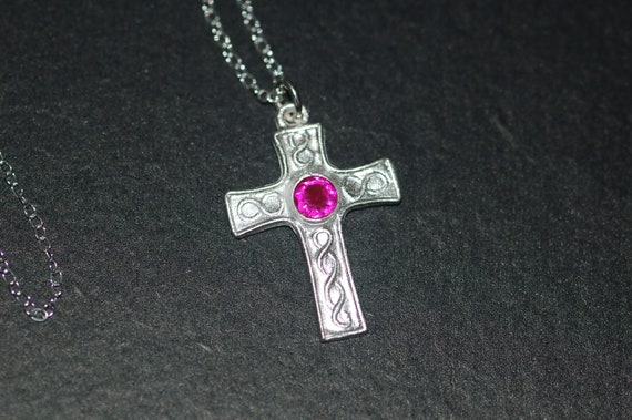 Cross pendant, Girl Cross pendant, Cross necklace, Cross with synthetic ruby on sterling silver necklace