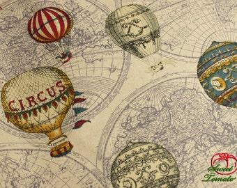 Linen Cotton Fabric - Colorful Ballon Cotton Linen Fabric 140cm x 50cm (ST051CL)