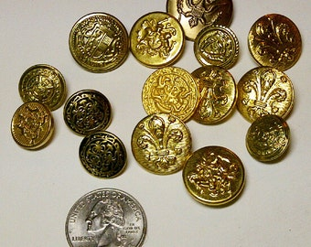 LOT of 13 Assorted Buttons- Gold Metal Buttons - Military Inspired
