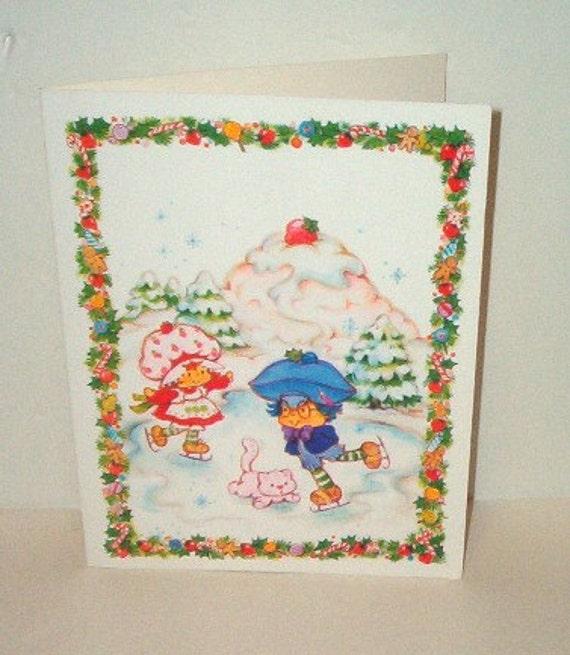 Strawberry Shortcake Vintage Christmas Greeting Card w/Envelope Plum Puddin' Boy Ice Skating