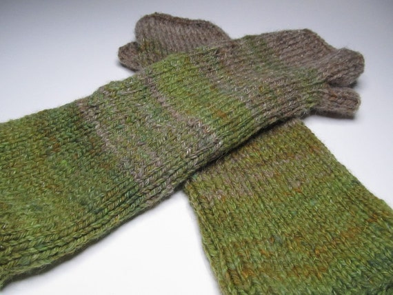 Fingerless Mitts Gloves Hand Knit Hand Spun Polwarth Falkland Sparkle blend green tan brown mix
