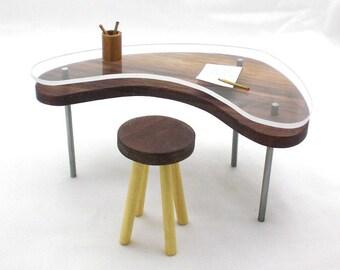 Miniature Glass Top Boomerang Table, Wood Table, Mini Furniture, Miniature Furniture, Mini Table, Dollhouse Miniature