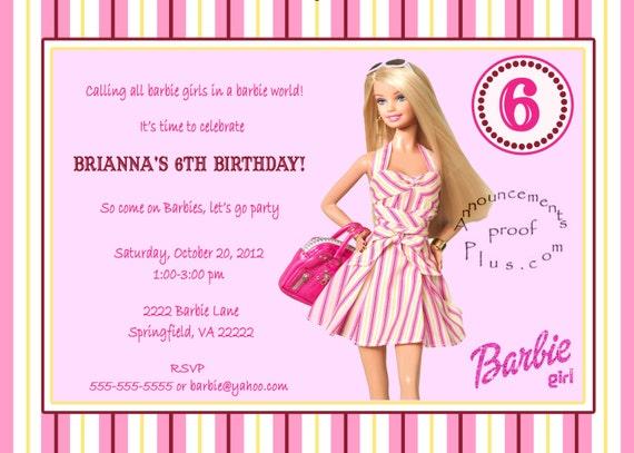 Items similar to 5x7 Barbie milestone Birthday Invitation ...
