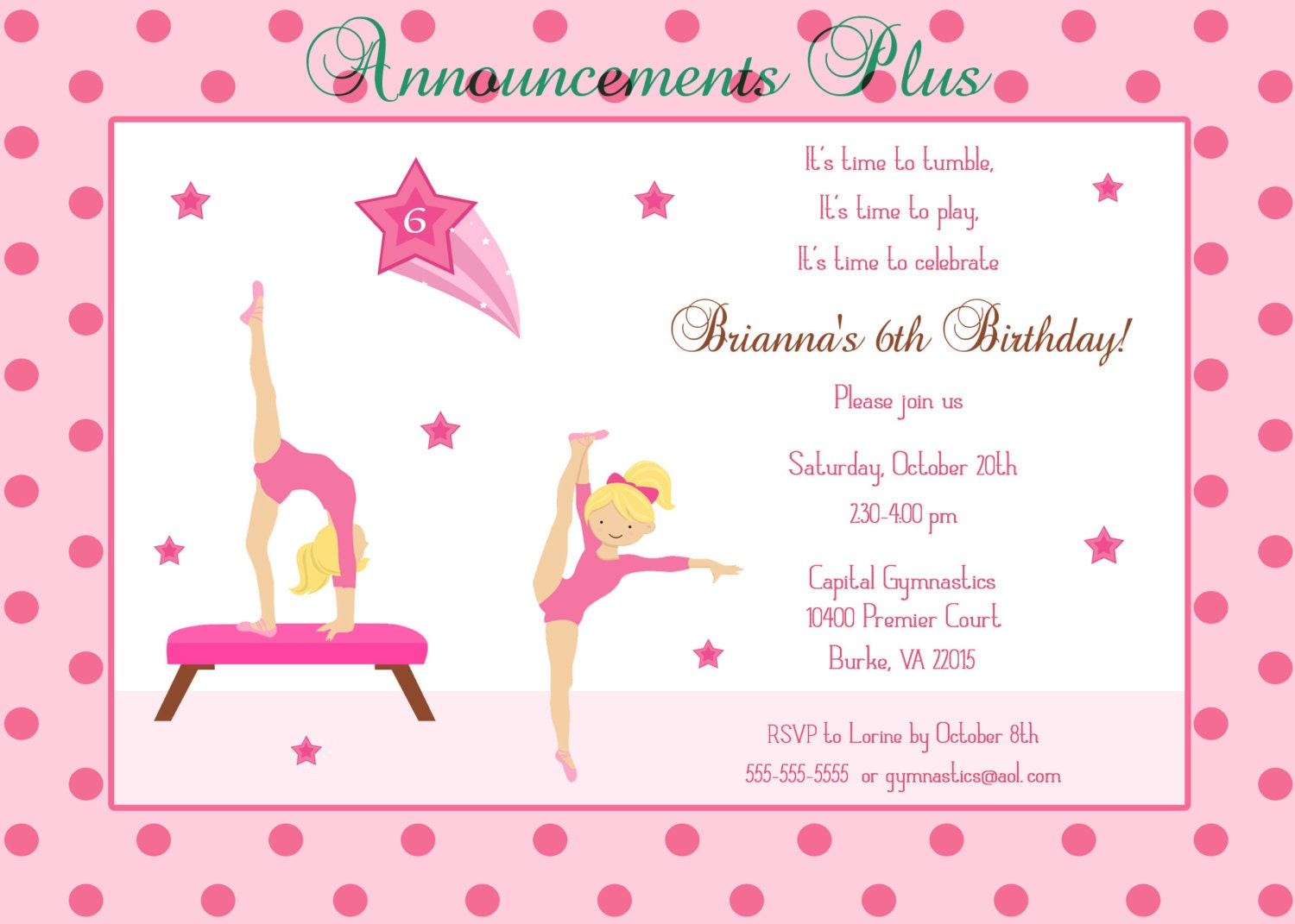 Gymnastic Party Invitations for luxury invitation template