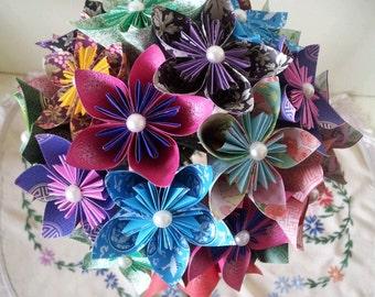 Paper Flower Origami Wedding Bouquet / Paper Anniversary / Bride Bridesmaid Accessories