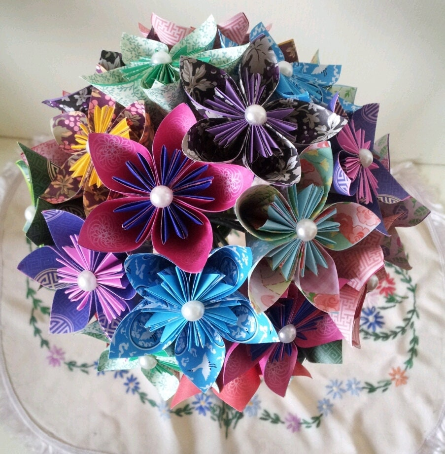 paper flower origami wedding bouquet paper anniversary