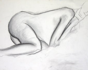 Black and White Nude Figure Drawing, 18x24