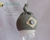 newborn up-cycled baby beanie photography prop short knot baby girl photography prop