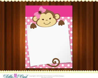 Girl Monkey Note card  for ANY comments, notes, wishes, thank you DIY  - ONLY digital file - you print