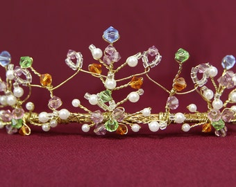 Colored Crystal Gold Tiara