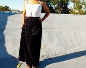 Vintage 70's navy blue velvet ditsy floral maxi skirt Sz S / M