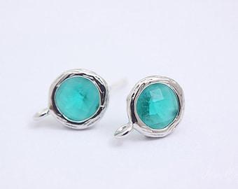 S035- 10 pairs -  Rhodium Plated -Emerald -Glass