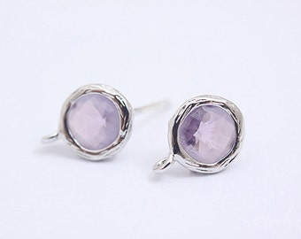 S036- 10 pairs -  Rhodium Plated -Amethyst -Glass