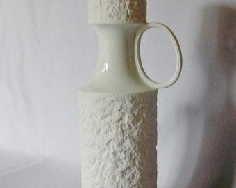 Large handmade  Royal KPM Kerafina white bisquit bisque porcelain vase with gold,  West Germany