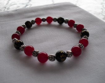 Black onyx & red agate bracelet