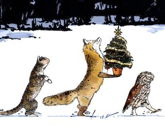 Cat, Fox & Owl Christmas Card x 5 CARDS