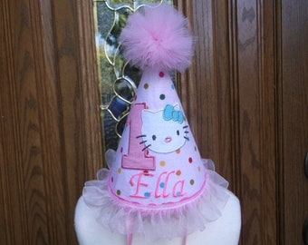 Girls 1st Birthday Party Hat -- Birthday Kitty   - Free Personalization - FAST SHIPPING