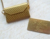 "Gold ""I Love You"" Envelope & Note Opening Locket Necklace, Valentine"