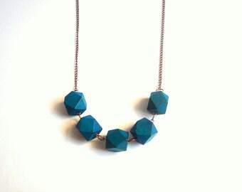 Geometric Necklace , Blue  Wood Geometric Necklace,Geometric Jewelry