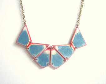 Geometric Necklace, Wood Triangles Necklace,Wood Tribal Necklace,Geometric Jewelry