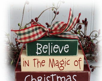 Believe In The Magic Of Christmas Itty Bitty Wood Block Sign