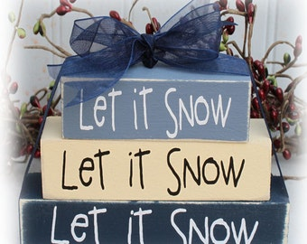 Let It Snow Itty Bitty Wood Block Sign