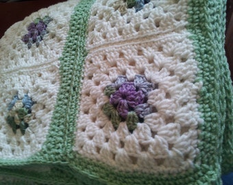 Granny Square Crocheted  Honeydew  Afghan
