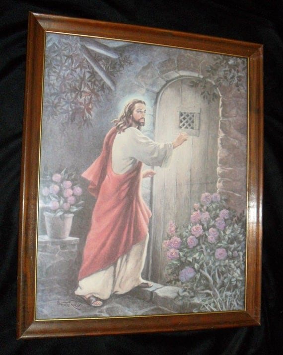 New Testament Framed Lithograph Jesus Knocking At Door