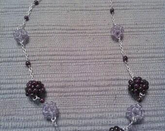 Unique amethyst and garnet spheres necklace
