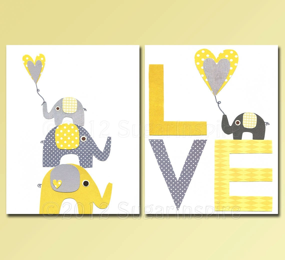 Elephant nursery nursery art print set kids room decor baby for Elephant mural nursery