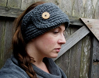 Earwarmer , Grey Head Warmer , Gray Head Wrap , Soft Headband ,Knit Headband