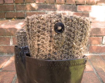 Womens Boot Socks in Brown with Buttons , Boot Cuffs