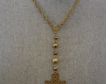 Gold Plated Rosary Style Necklace