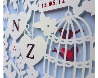 Personalised Paper Cut Heart- Wedding or Engagement