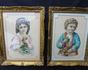 AntiqueValentine Cards Custom Framed  Victorian French Style