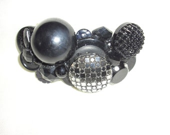 Handcrafted Barrette Black and Silver Vintage Buttons