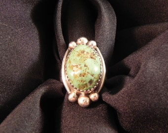 Vintage Ring Native American  Turquoise Setting  Marked Sterling Silver BAL Sz6.