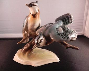 Vintage Blue Jays Figurine Porcelain by Keramous